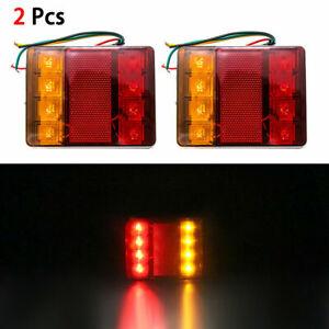 Pair-12V-Rear-Stop-LED-Lights-Tail-Indicator-Lamp-Trailer-Truck-CARAVAN-Cars
