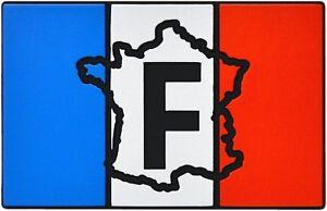 Auto-Relief-Schild-3D-Aufkleber-F-Frankreich-Flagge-Landkarte-9-cm-HR-Art-14356