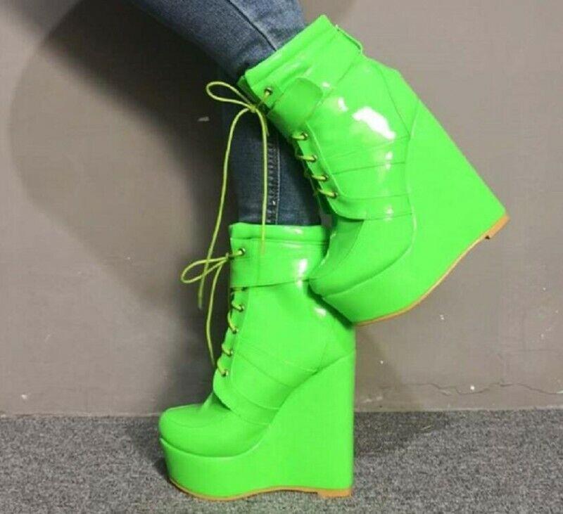 Sexy Damen Ankle Stiefel Platform Stiefeletten Keilabsatz Schnürer 44-47 High Heel