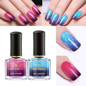2Bottles-BORN-PRETTY-6ml-Glitter-Color-Changing-Nail-Polish-Peel-Off-Thermal-Kit