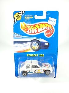 Hot-Wheels-1990-Blue-Card-Peugeot-205-105-Speed-Points-Blackwalls-w-Protector