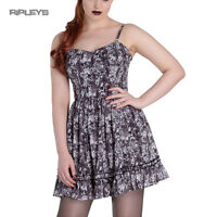 HELL BUNNY Goth Grunge Mini Dress AURA Skull Flowers   Grey All Sizes