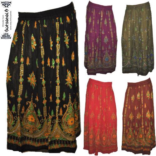 Crinkle rock Gypsy ethno Inde Inde Goa jupe skirt Nomad Hippy paillettes psy