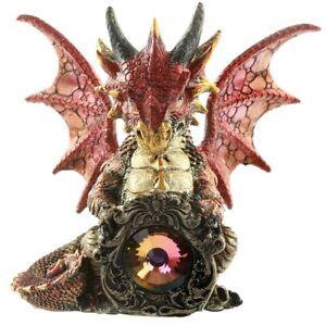 Drache-No3-rot-Kristall-Protektor-Magische-Traeume-Dragon-Dekofigur-Fantasy