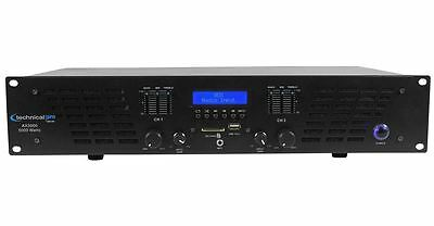 Technical Pro AX5000 5000 Watt 2 Channel 2U DJ Power Amplifier w USB, SD, EQ