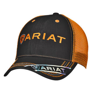 2051188eda4415 Ariat Mens Hat Baseball Cap Mesh Logo One Size Black Orange 15160276 ...