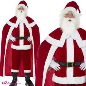 b7d1bb21eb842 Mens Deluxe Santa Claus COSTUME + BEARD GLOVES HAT Christmas Xmas ...