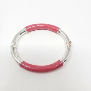 Vintage-Milor-Italy-925-Sterling-amp-Pink-Enamel-7mm-Tube-Hinged-Bangle-Bracelet