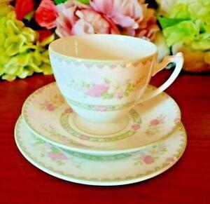 Coalport-Canterbury-Bone-China-Delicate-Floral-Pattern-Tea-Set-Trio-Vintage