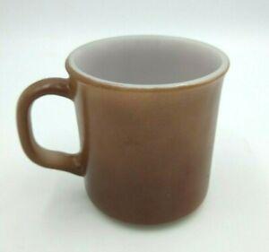 Vintage Anchor Hocking Milk Glass Coffee Mug D Handle Brown U.S.A. Oven Proof
