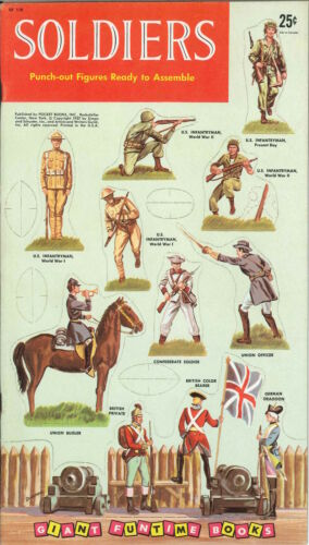VINTAGE UNCUT 1957 WWI SOLDIERS PAPER DOLL ~SIMON SHUSTER~ORG SIZE~REPRODUCTION