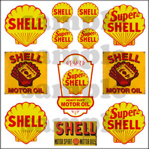 SHELL-1-87-HO-SCALE-BUILDING-GASOLINE-OIL-GAS-STATION-SIGNS-DECALS-FREE-FLAG