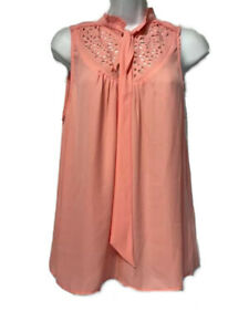 Anthropologie Maeve Womens Blouse Pink Sleeveless Ruffle Tie Mock Neck Cutout 10