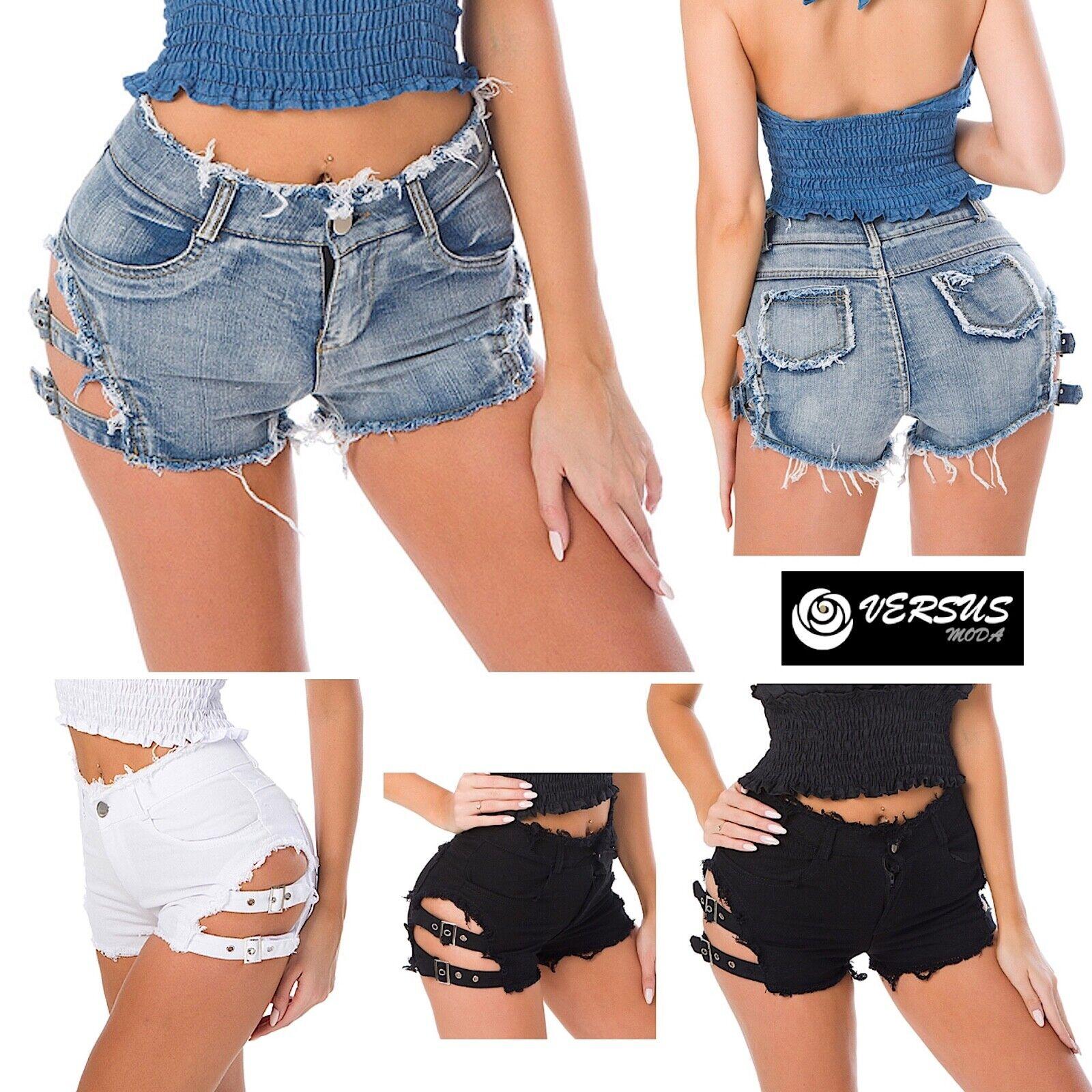 Mini Pantaloncini Jeans Donna Lacci Laterali Coachella JEA023