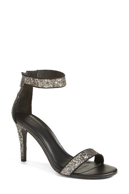 Joie Adriana Adriana Adriana Ash Grey Glitter High Heel Ankle Strap Sandals Size 37.5 44c141