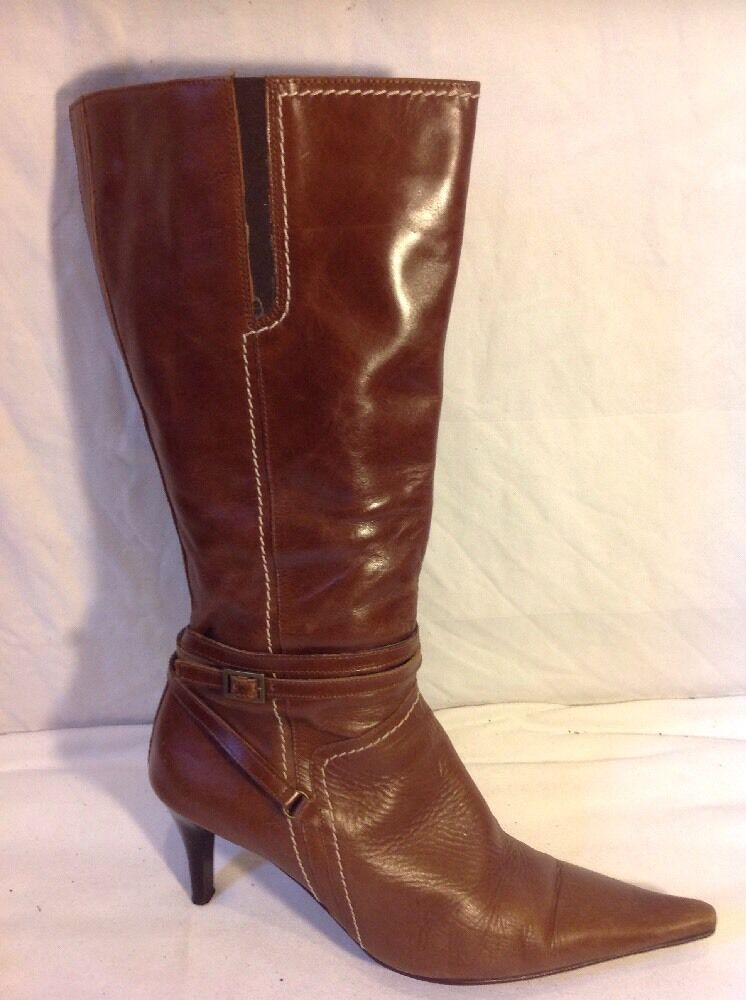 Dune Brown Mid Calf Leather Boots Size 41