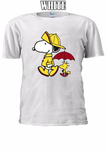 Snoopy and Woodstock walking under rain Men Women Unisex T-shirt V137