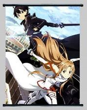 New Anime Sword Art Online SAO Gun Gale GGO Kirito & Asuna Wall Scroll