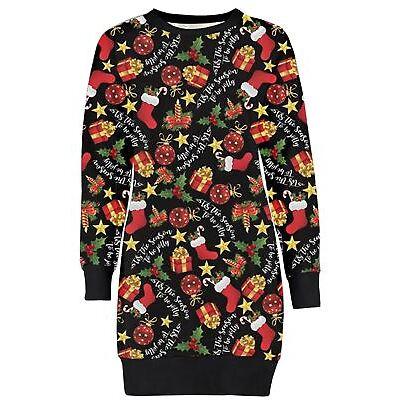 New Womens Long Ho Ho Hat Jolly Season Gift Bells Knit Sweat Shirt Jumper Dress