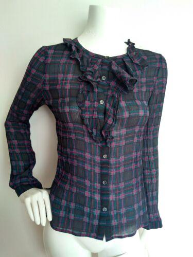 100 Check Long 8 Blouse Sleeve Shirt brand Print Silk New Size Jigsaw RBq5PP