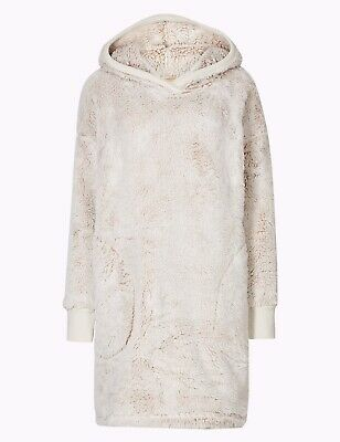 LADIES EX MARKS AND SPENCER LONG PILE SUPERSOFT HOODED LOUNGE JUMPER DRESS  M/&S
