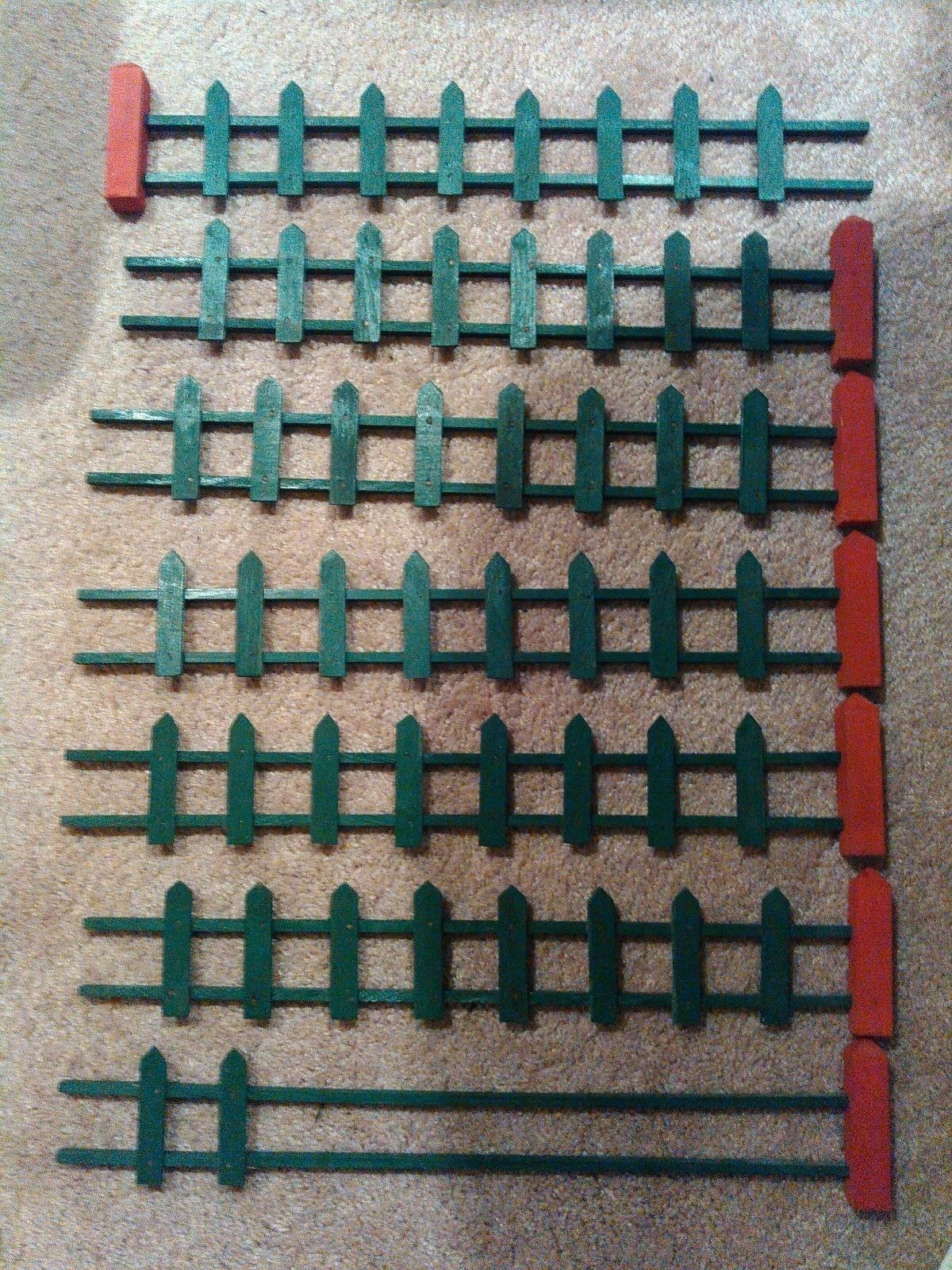 Vintage Handmade Miniature Straight Sections of Green Fence & Red Posts w Extras