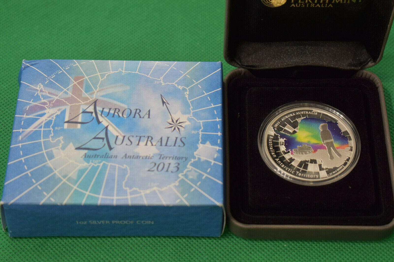 $1 Dollar Aurora Australis Antarctic Territory  1 oz silver Australia 2013 Proof