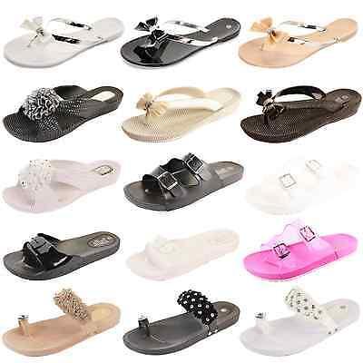 Para mujeres Damas niñas Plana verano playa Jalea Sandalias Ojotas de Estilo Retro Zapatos Talla