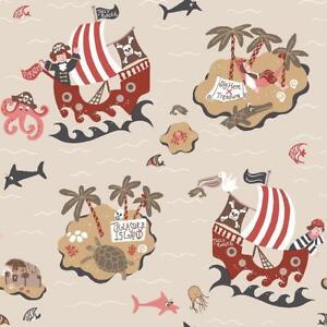 Boys-Beige-Pirates-Wallpaper-Skulls-Treasure-Island-Maps-Fish-Nautical-Galerie