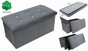 Ordinaire Image Is Loading LARGE GREY DIAMANTE OTTOMAN BEDDING STORAGE BOX SEAT