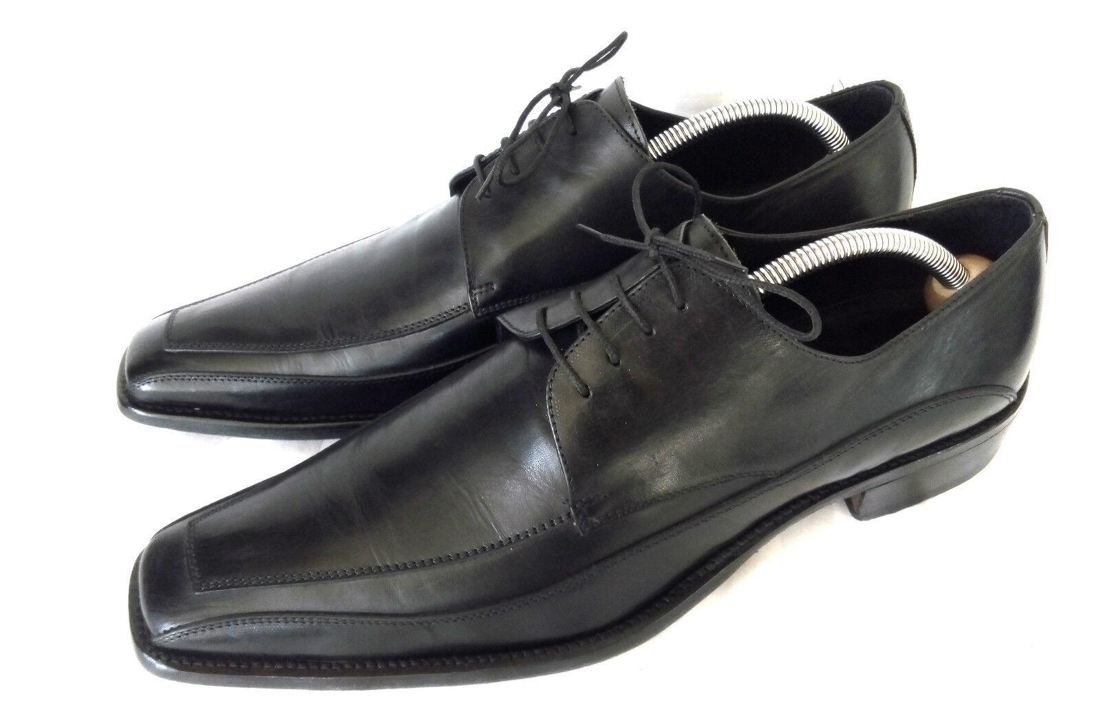Wigtown Derby Business Herrenschuhe wie Apron Toe Schwarz Leder Gr. 44 - 44,5