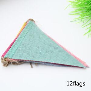1-Strand-triangle-en-forme-de-toile-de-jute-Drapeaux-Bunting-Banniere-Mariage-Decoration
