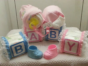 Alphabet Baby Blocks And Sleeping Baby Diaper Cake Gift