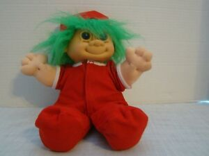 Russ Troll Doll With Green Hair And Santa Hat Blue Eyes Approx