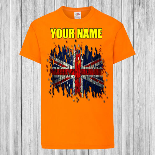 Children Union Jack UK Flag Kids T-Shirt DTG Personalized with name