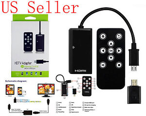Micro USB HDMI HDTV Cable adapter w/ remote control for HTC One M7