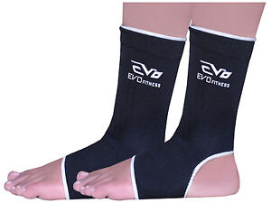 Evo-Fitness-Elasticated-Anklet-Support-Guards-Kick-Boxing-MMA-Martial-Arts-Pair
