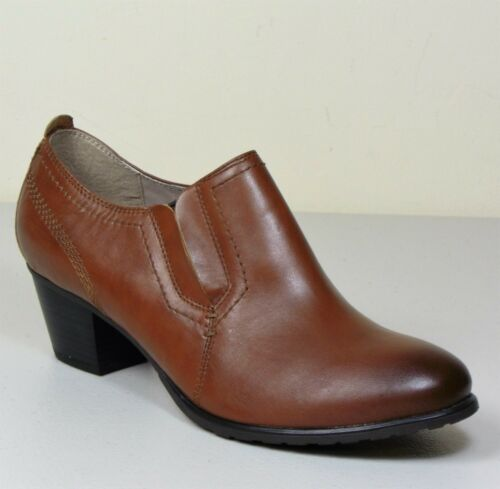 M/&S FOOTGLOVE Real LEATHER Cuban Heel SHOE BOOTS ~ Size 7 WIDE ~ Tan