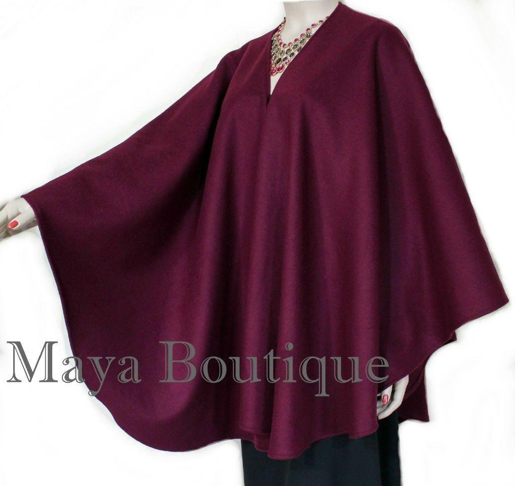 Cape Ruana Wrap Coat Wool BURGGUNDY USA gjorde Maya Matazaro ny