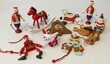 Vintage Wooden Christmas Ornament Lot A5