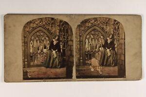 UK Donna Eglise c1860 Foto Elliott Stereo Vintage Albumina Danneggiati