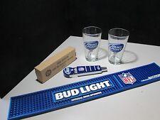 NEW Bud Light Pint Glass NFL Football Tap Lot Short Beer Rubber Bar Spill Mat
