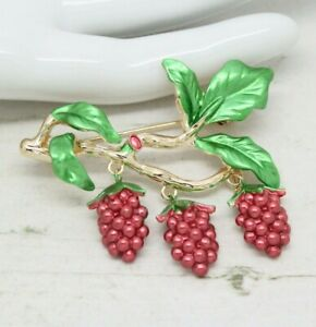 Details about Beautiful Vintage Style Satin Enamel Blackberry Berry Drop  BROOCH Pin Jewellery