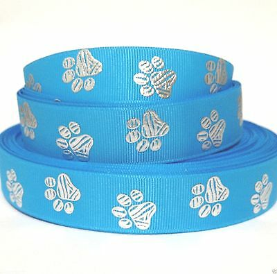 """GROSGRAIN RIBBON 7/8"""" Silver GLITTERY PAW PRINTS Blue P9 PRINTED FOR HAIRBOWS"""