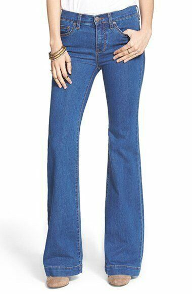 NWT Womens Free People Stretch Mid Rise Flare Jeans Dallas Wash bluee