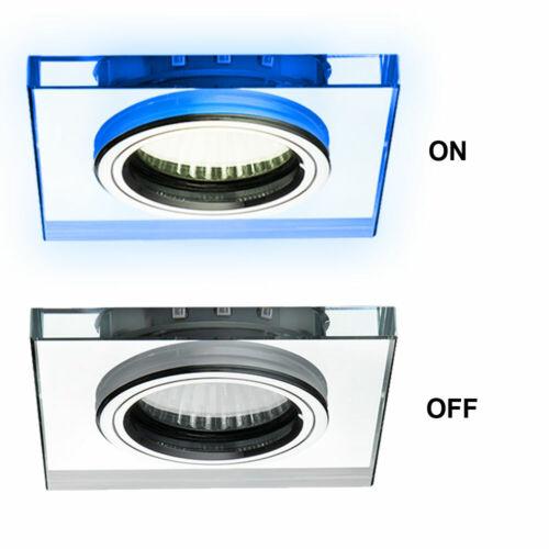 4er Set Einbau Lampen Glas Decken Spots Schlaf Zimmer Deko LED Beleuchtung blau