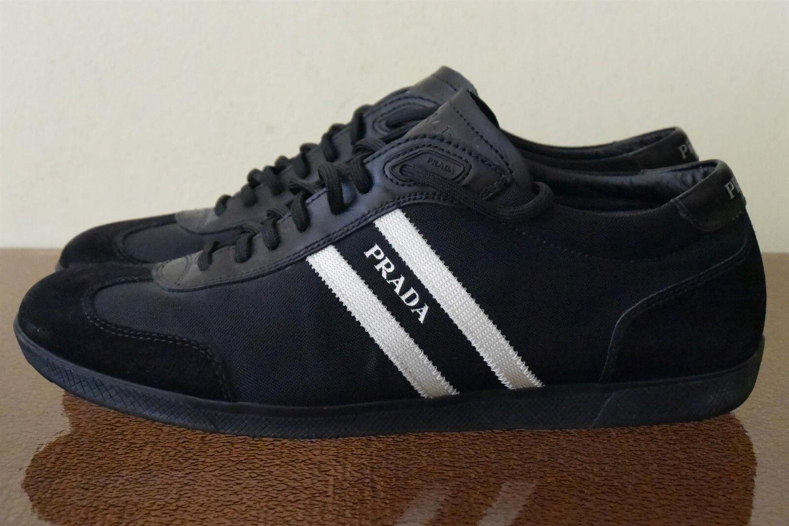 PRADA Cuero Negro Zapatillas De Lona Talla 8.5