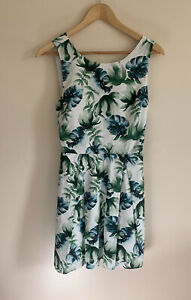 Jack-Wills-White-Green-Tropical-Print-Skater-Dress-Twist-Back-UK-10