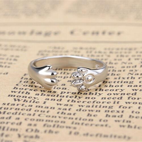 "Cute-Women /""Katze Pfote Klaue offen Ring versilbert Fingerring Tier 4H"