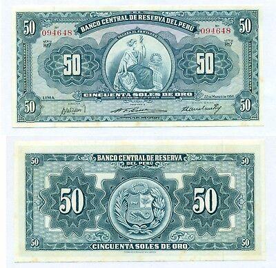 Peru 50 Soles de Oro 1963 P-85 AU//Unc
